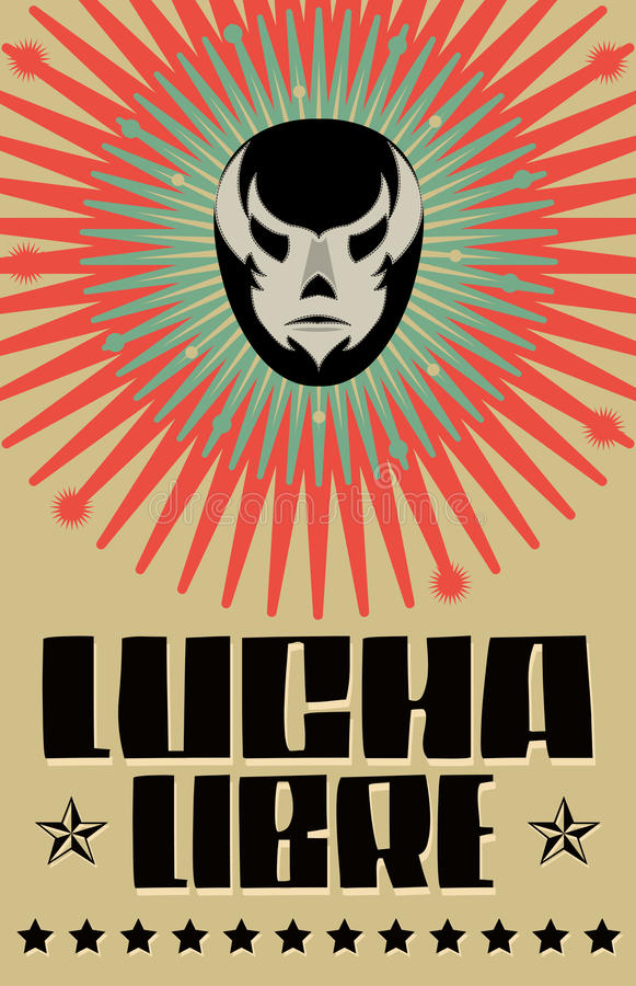 Lucha Libre - wrestling spanish text. Mexican wrestler mask - poster - eps available vector illustration