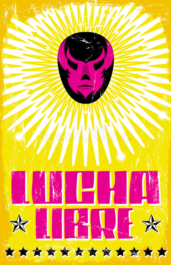 Lucha Libre - wrestling spanish text. Mexican wrestler mask - poster - eps available royalty free illustration