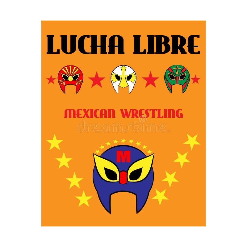 Lucha Libre - wrestling spanish text - Mexican wrestler mask - poster. Stars vector illustration