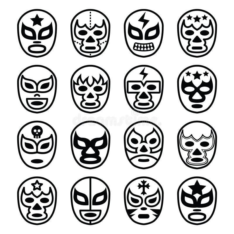 Lucha Libre zapaśnictwa Meksykańskie maski - kreskowe czarne ikony ilustracja wektor