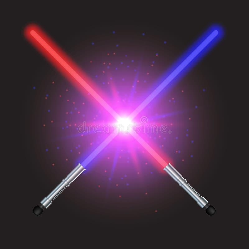 Lucha ligera cruzada de dos espadas ilustración del vector