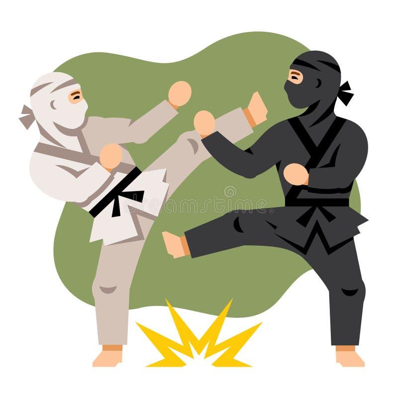 Lucha Ninja blanco y negro del vector Ejemplo colorido de la historieta del estilo plano stock de ilustración