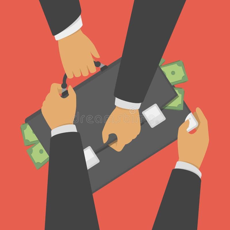 Lucha para la cartera con el dinero ilustración del vector