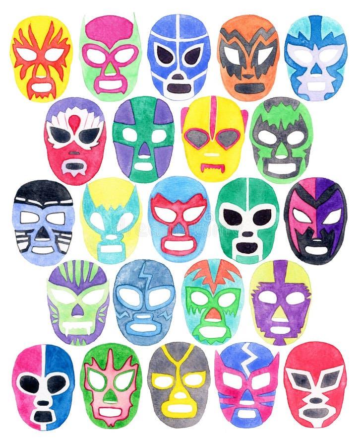 Luchador или комплект маски бойца Нарисованные вручную маски свободного боя libre lucha иллюстрация вектора