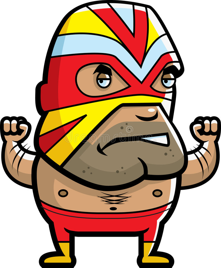 Luchador. A Mexican wrestler with a mask and tights on royalty free illustration
