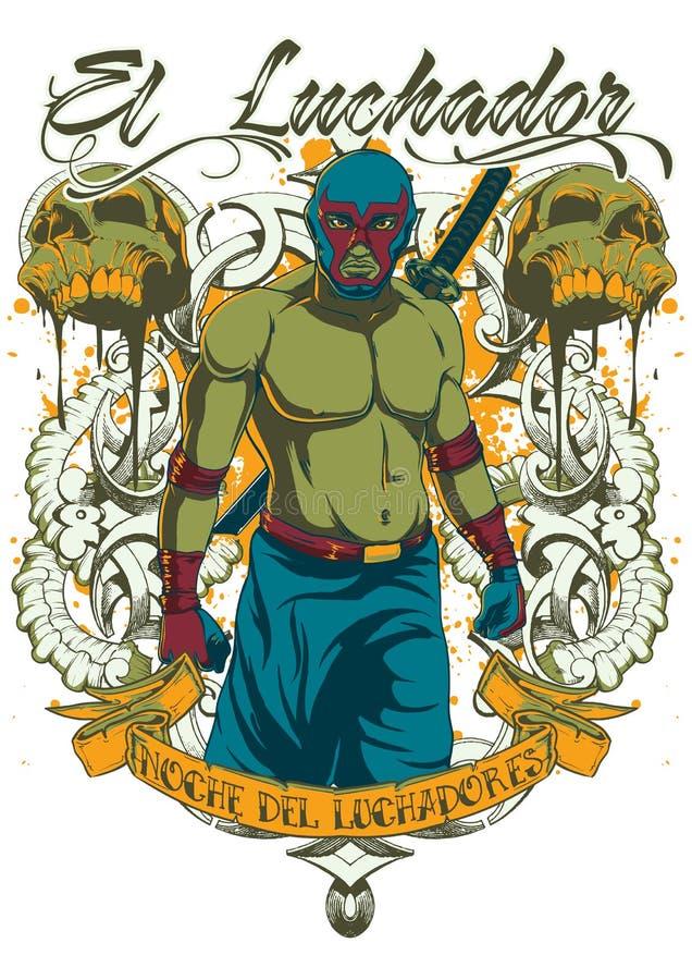 Luchador del EL stock de ilustración