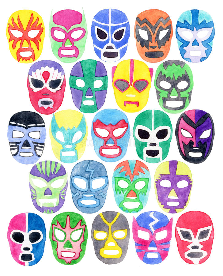 Luchador or fighter mask set. Hand-drawn lucha libre free fight masks. Colorful helmets on the white background. Real watercolor drawing vector illustration