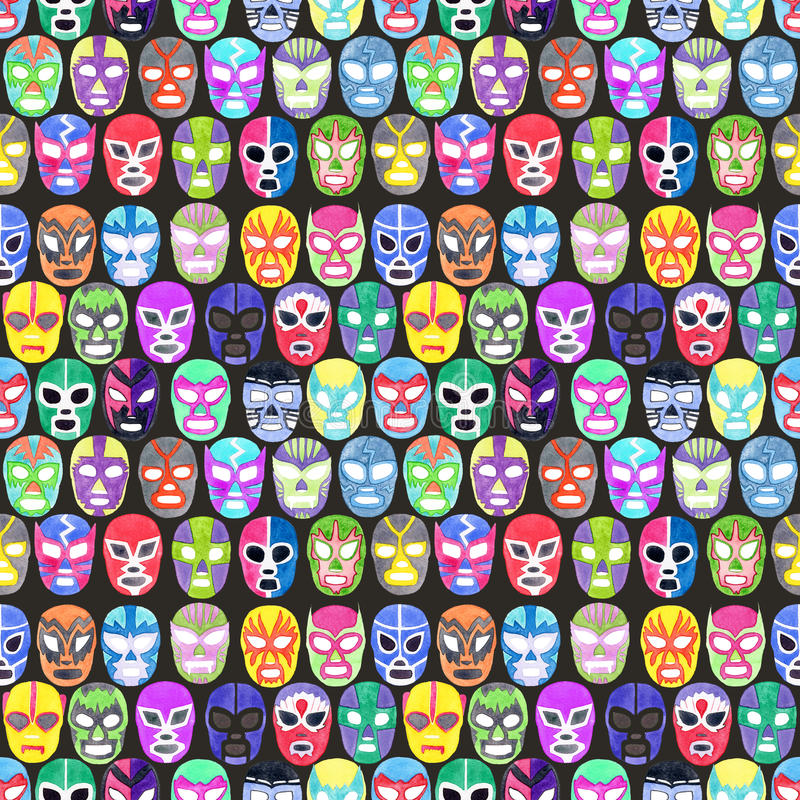Luchador or fighter mask set. Seamless pattern with hand-drawn lucha libre. Free fight - masks - colorful helmets on the white background. Real watercolor vector illustration