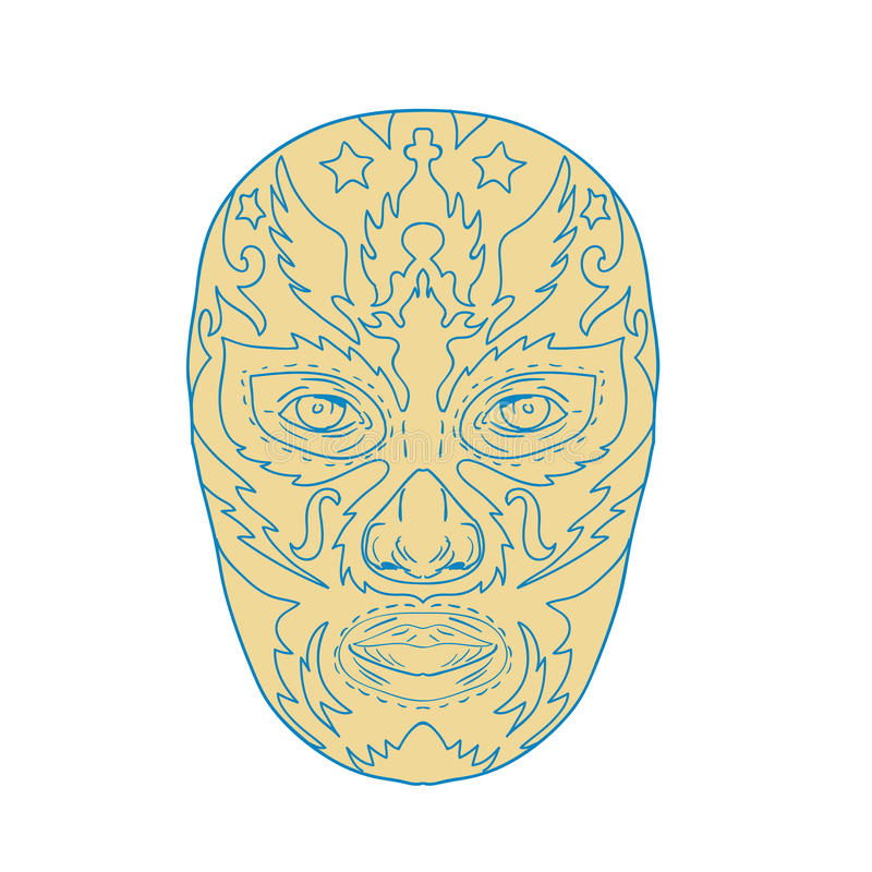 Luchador Lucha Libre Mask. Illustration of a mexican Luchador Lucha Libre wrestler Mask Front View done in line Drawing style on isolated background vector illustration