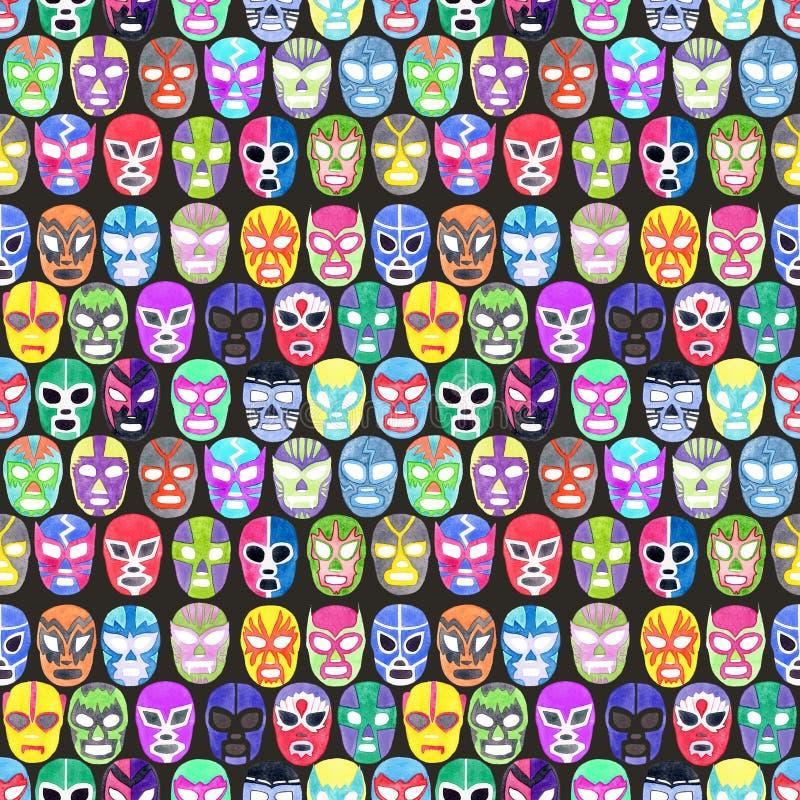 Luchador ou grupo da máscara do lutador Teste padrão sem emenda com libre desenhado à mão do lucha ilustração do vetor