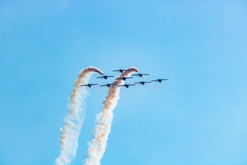 Lucht acrobatisch door snowbirds royalty-vrije stock fotografie