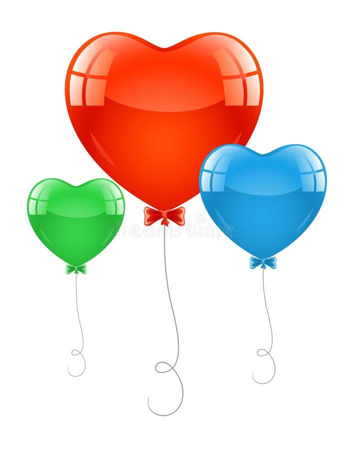Lucht baloons in vorm van hart vector illustratie