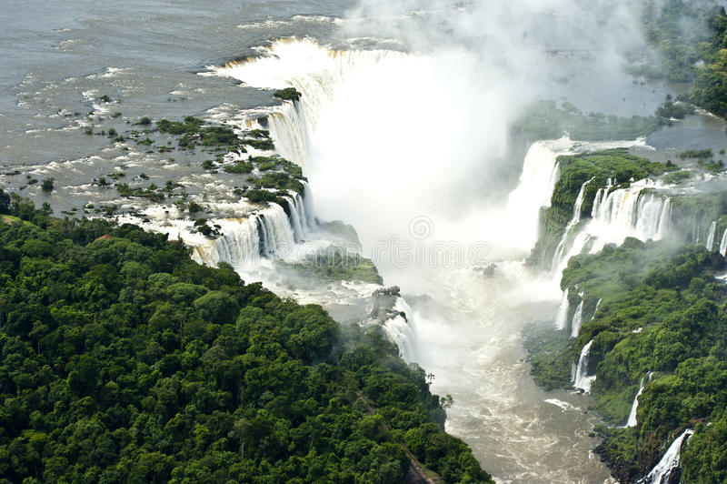 Lucht beeld van Iguazu Dalingen, Argentinië, Brazilië stock afbeeldingen