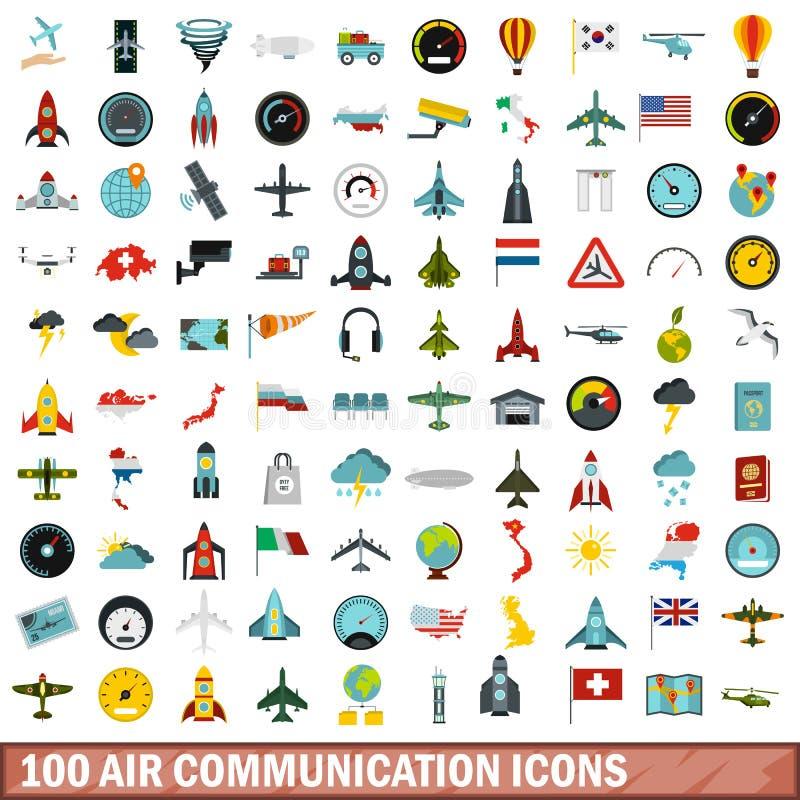 100 lucht communicatie geplaatste pictogrammen, vlakke stijl vector illustratie