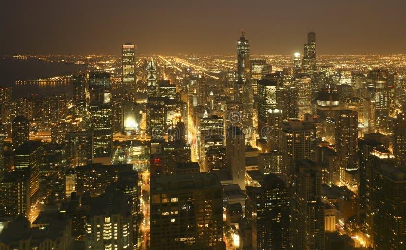 Lucht de horizonzonsondergang van de binnenstad van Chicago royalty-vrije stock fotografie
