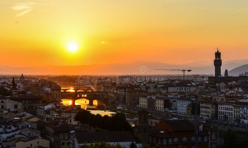 Lucht de meningscityscape van Florence Panoramamening van Michelangelo-parkvierkant, Italië stock afbeeldingen