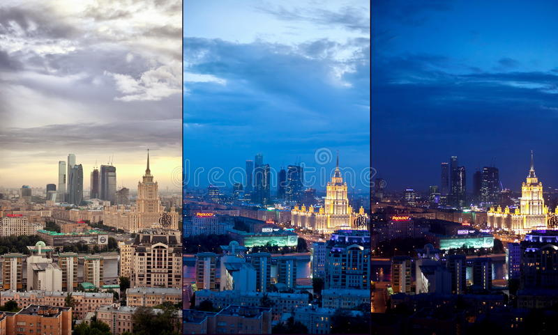 Lucht de stadscollage van Moskou royalty-vrije stock afbeelding
