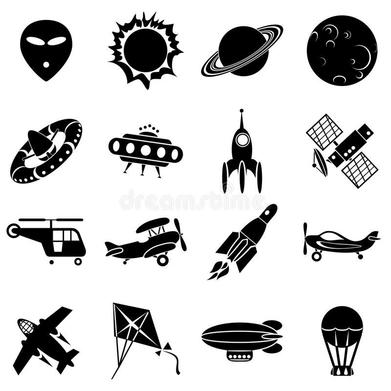 Lucht en ruimtepictogrammen