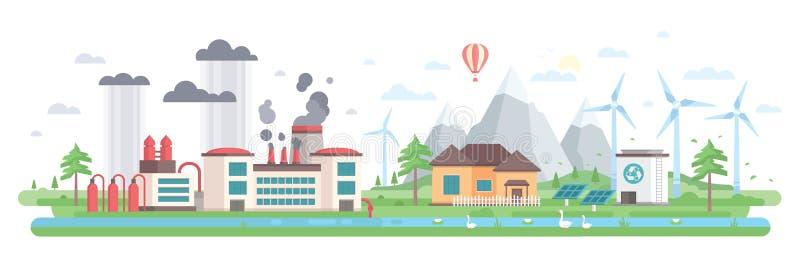 Lucht en watervervuiling - de moderne vlakke vectorillustratie van de ontwerpstijl stock illustratie