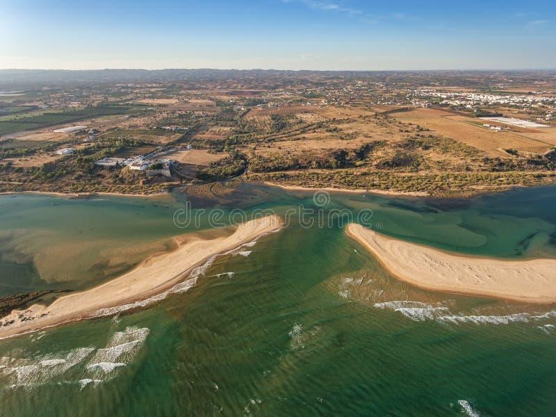 lucht Foto van de hemel, het dorp Cacela Velha Tavira stock foto