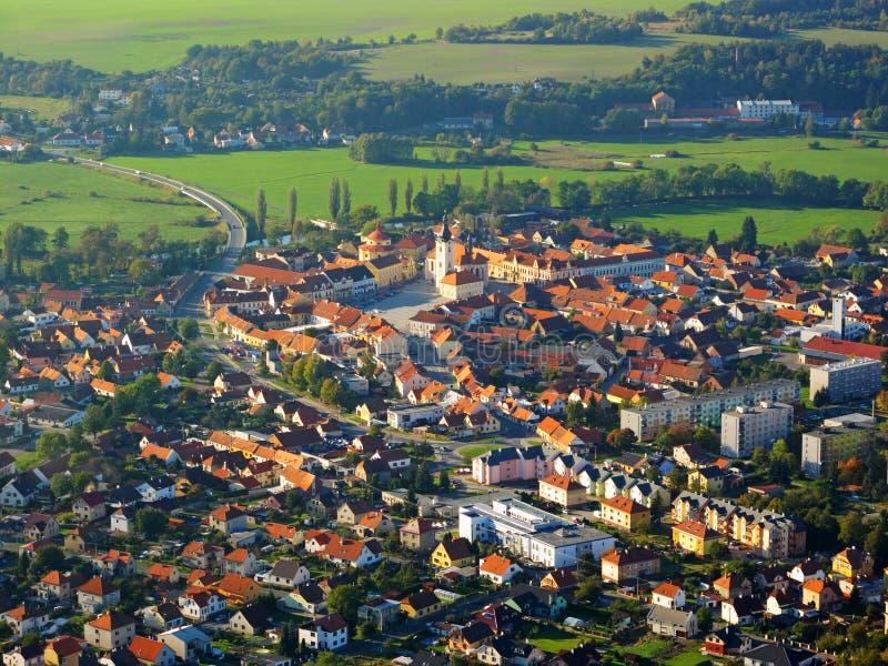 Lucht foto van kleine stad stock foto