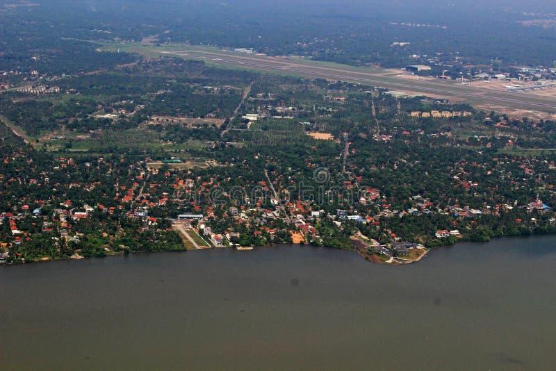 Lucht Hoogste Mening Modern Colombo Airport & Kustgebied van Sri Lanka stock foto's