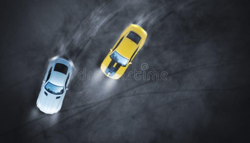 Lucht hoogste mening twee auto's die slag de nacht op rasspoor afdrijven stock foto