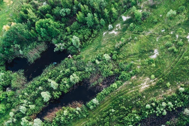 Lucht hoogste mening van aardlandschap met groene bomen, bos en meren stock afbeelding