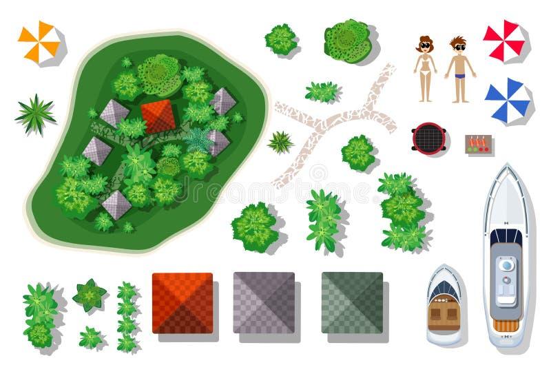 Lucht hoogste mening van een eiland vector illustratie
