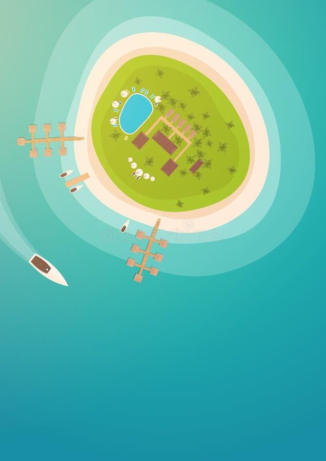 Lucht Hoogste mening van het tropische eiland, het overzees en het strand royalty-vrije illustratie