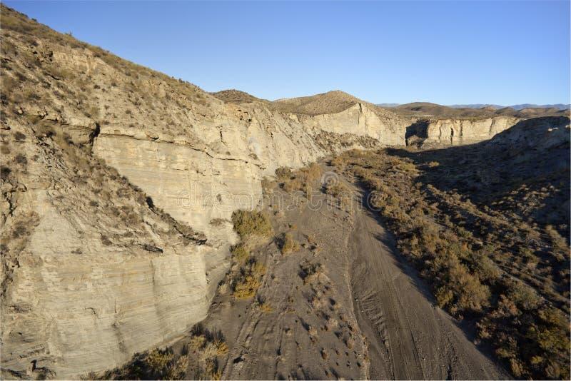 Lucht mening over de woestijnbergen van Almeria royalty-vrije stock fotografie