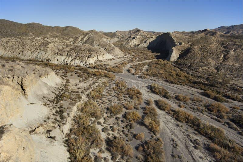 Lucht mening over de woestijnbergen van Almeria stock fotografie