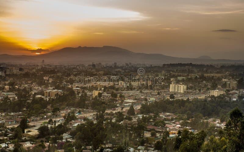 Lucht mening van Addis Ababa stock foto's
