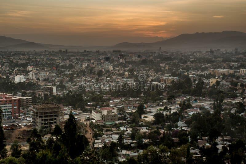 Lucht mening van Addis Ababa royalty-vrije stock fotografie
