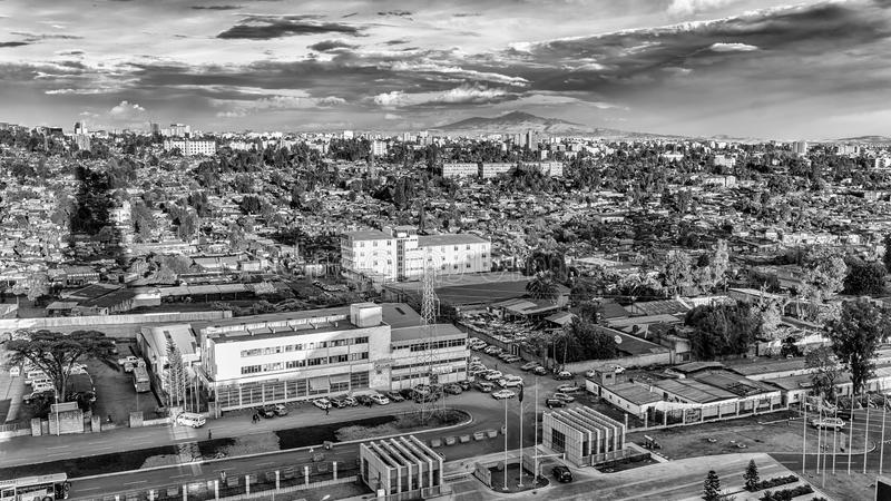 Lucht mening van Addis Ababa royalty-vrije stock afbeelding