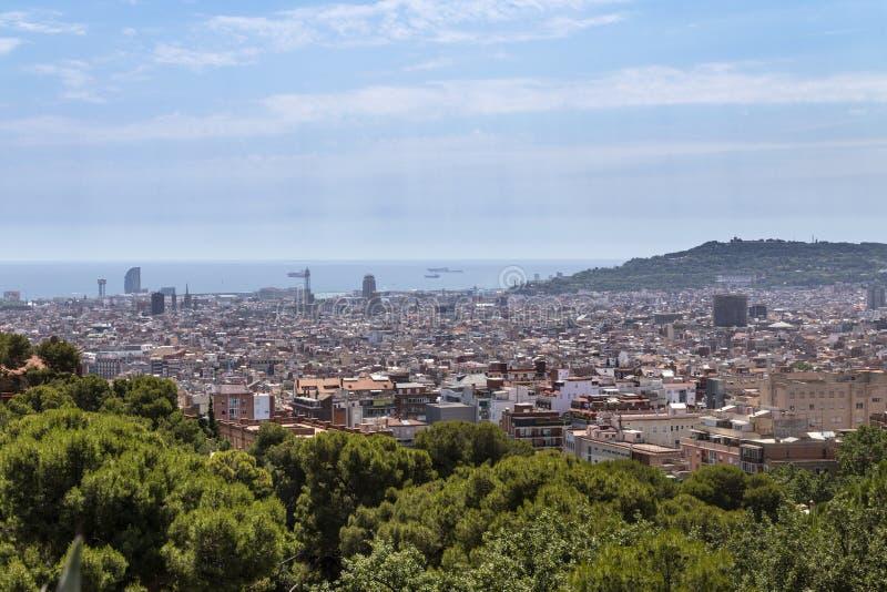 Lucht Mening van Barcelona stock afbeelding