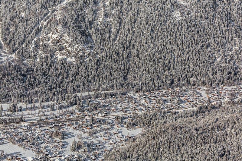 Lucht mening van Chamonix Mont Blanc, Frankrijk royalty-vrije stock foto's
