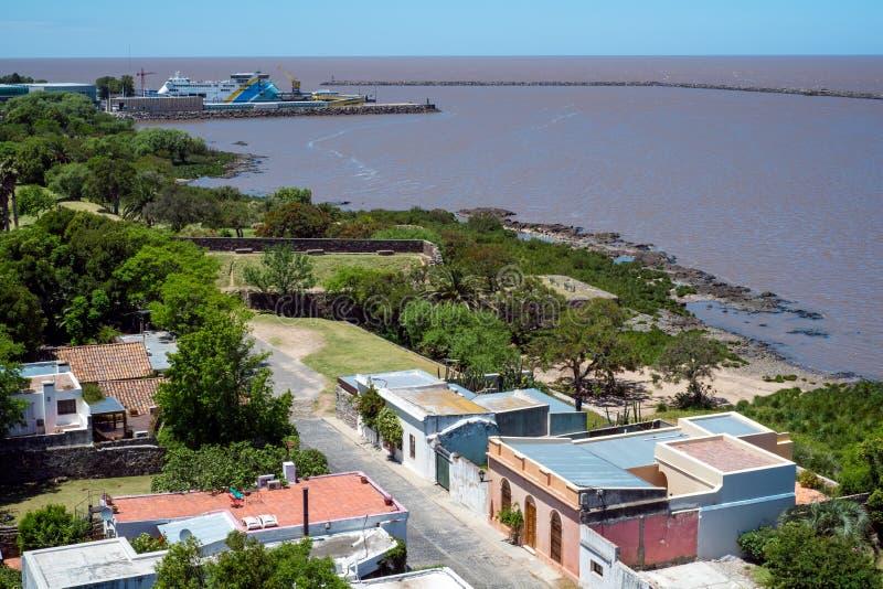 Lucht mening van Colonia in Uruguay royalty-vrije stock afbeeldingen
