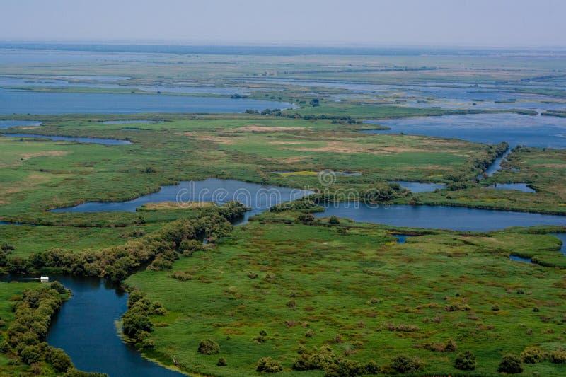 Lucht Mening van de Delta van Donau stock foto