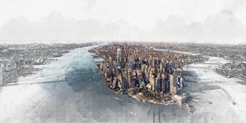 Lucht mening van de Stad van New York van het Lower Manhattan stock illustratie