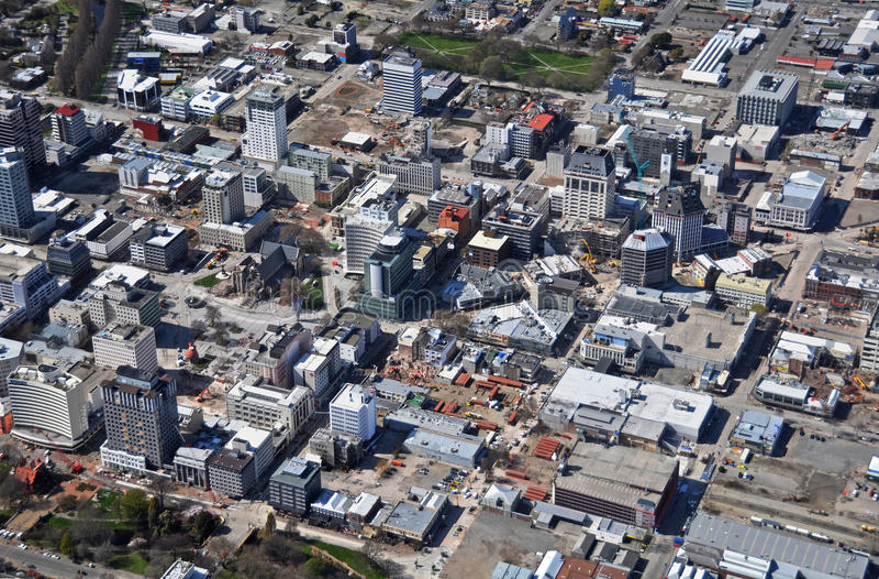 Lucht Mening van de Vernielingen van de Aardbeving Christchurch royalty-vrije stock fotografie