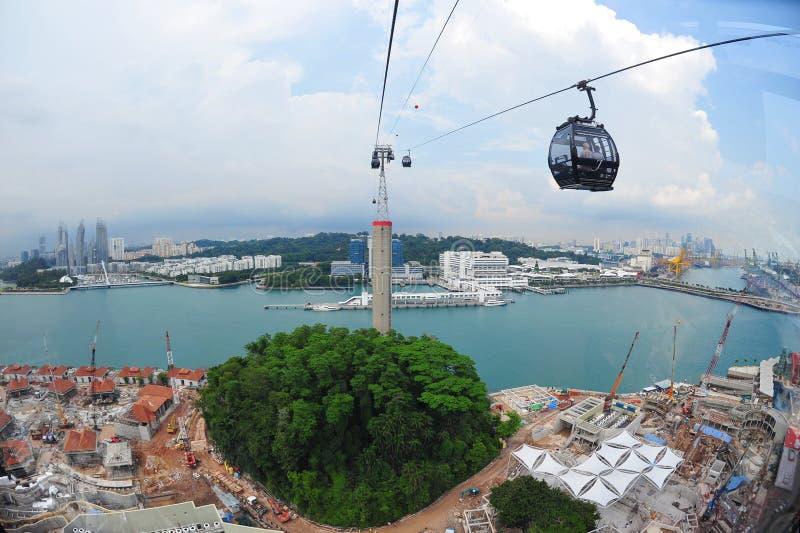 Lucht mening van de Voorzijde en Sentosa van de Haven van Singapore stock afbeeldingen