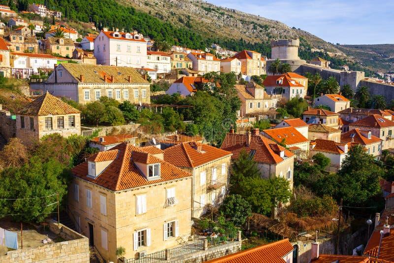 Lucht mening van Dubrovnik Kroatië stock afbeeldingen