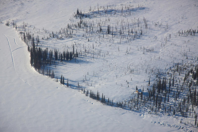 Lucht Mening van een Bevroren Meer royalty-vrije stock foto's