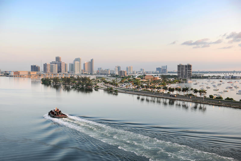 Lucht Mening van Haven van Miami stock fotografie