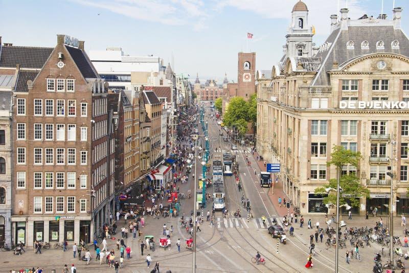 Lucht mening van het vierkant van de Dam, Amsterdam stock afbeelding