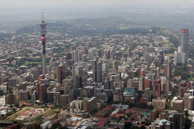 Lucht mening van Johannesburg stock foto's