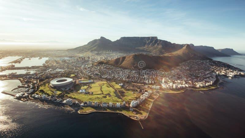 Lucht mening van Kaapstad, Zuid-Afrika royalty-vrije stock foto's