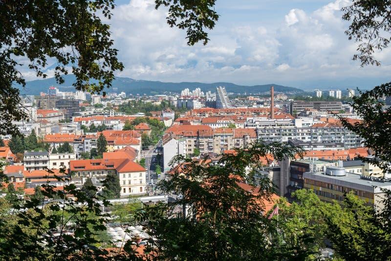 Lucht mening van Ljubljana stock foto's