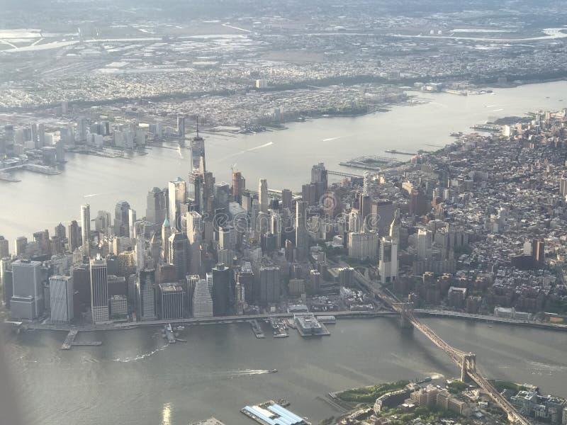 Lucht mening van Manhattan stock foto's